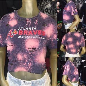 adidas Atlanta Braves Custom Bleached Crop Top M